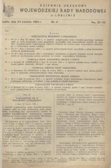 Dziennik Urzędowy Wojewódzkiej Rady Narodowej w Lublinie. 1984, nr 4 (24 kwietnia)