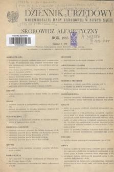 Dziennik Urzędowy Wojewódzkiej Rady Narodowej w Nowym Sączu. 1983, Skorowidz alfabetyczny : rok 1983