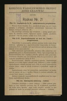 Rozkaz nr 21 (22 sierpnia 1944)
