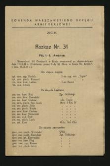 Rozkaz nr 31 (20 września 1944)