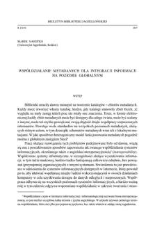 Współdziałanie metadanych dla integracji informacji na poziomie globalnym