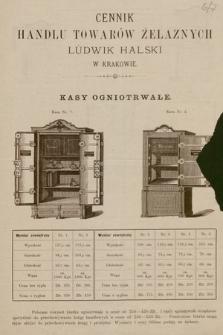 Cennik handlu towarów żelaznych Ludwik Halski : kasy ogniotrwałe