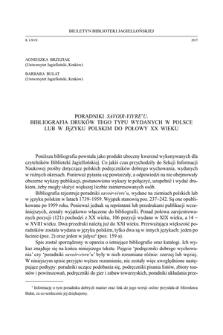 Poradniki savoir-vivre'u.Bibliografia druków tego typu wydanych w Polsce lub w języku polskim do po-łowy XX wieku