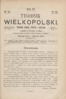 Tygodnik Wielkopolski : czasopismo naukowe, literackie i artystyczne. R.4, nr 23 (7 czerwca 1874)