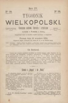 Tygodnik Wielkopolski : czasopismo naukowe, literackie i artystyczne. R.4, nr 38 (19 września 1874)