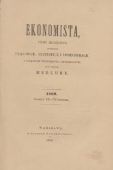 Ekonomista : pismo miesięczne poświęcone ekonomice, statystyce i administracji : z dodatkiem tygodniowym informacyjnym, pod nazwą Merkury. R.5, z. 9 (wrzesień 1869)