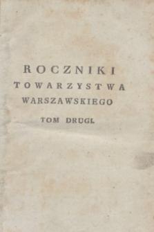 Roczniki Towarzystwa Warszawskiego Przyiaciół Nauk. T.2 (1803) + wkładka
