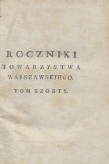 Roczniki Towarzystwa Warszawskiego Przyiacioł Nauk. T.6 (1810) + wkładka