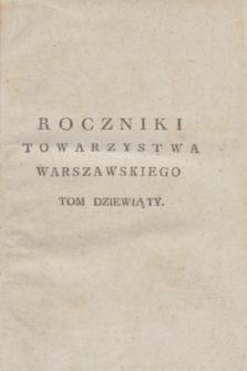Roczniki Towarzystwa Królewskiego Warszawskiego Przyiaciół Nauk. T.9 (1816) + wkładka
