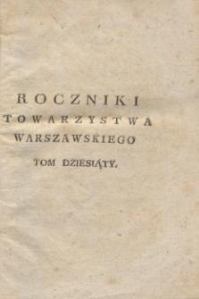 Roczniki Towarzystwa Królewskiego Warszawskiego Przyiaciół Nauk. T.10 (1817) + wkładka