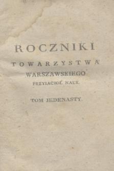 Roczniki Towarzystwa Krolewskiego Warszawskiego Przyiacioł Nauk. T.11 (1817) + wkładka