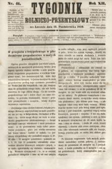 Tygodnik Rolniczo-Przemysłowy. R.12, nr 41 (13 października 1849)