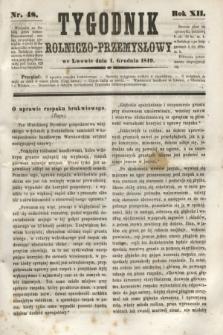 Tygodnik Rolniczo-Przemysłowy. R.12, nr 48 (1 grudnia 1849)
