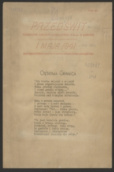 Przedświt : wydawnictwo Komitetu Zagranicznego P.P.S. w Londynie. 1941 (1 maja)