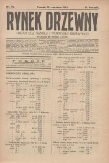 Rynek Drzewny : organ dla handlu i przemysłu drzewnego. R.6, nr 48 (13 czerwca 1924)