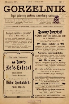 Gorzelnik : organ poświęcony polskiemu przemysłowi gorzelniczemu. R. 16, 1903, nr1
