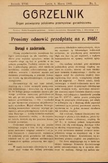 Gorzelnik : organ poświęcony polskiemu przemysłowi gorzelniczemu. R. 18, 1905, nr5