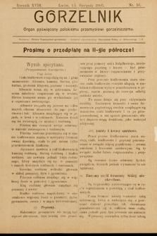 Gorzelnik : organ poświęcony polskiemu przemysłowi gorzelniczemu. R. 18, 1905, nr16