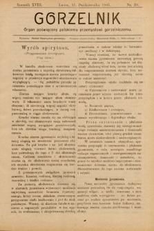 Gorzelnik : organ poświęcony polskiemu przemysłowi gorzelniczemu. R. 18, 1905, nr20