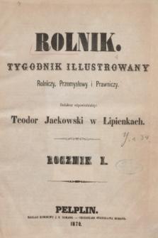 Rolnik : tygodnik illustrowany rolniczy, przemysłowy i prawniczy. R.1, Spis przedmiotów zawartych w Rolniku roku 1869