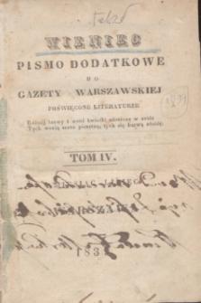 Wieniec : pismo dodatkowe do Gazety Warszawskiej poświęcone literaturze. 1839, T. 4 (lipiec) + spis rzeczy