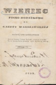 Wieniec : pismo dodatkowe do Gazety Warszawskiej poświęcone literaturze. 1839, T. 9 (grudzień) + spis rzeczy