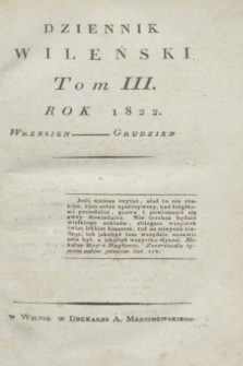 Dziennik Wileński. T.3, Materye Tomu Trzeciego (1822)