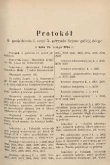 [Kadencja X, sesja I, pos.9] Protokoły z I. sesji X. peryodu Sejmu krajowego Królestwa Galicyi i Lodomeryi wraz z Wielkiem Księstwem Krakowskiem w latach 1913 i 1914. Posiedzenie9