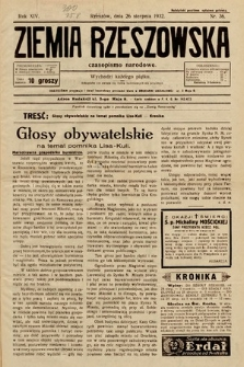 Ziemia Rzeszowska : czasopismo narodowe. 1932, nr36