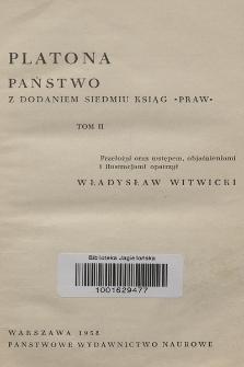 """Platona Państwo : z dodaniem siedmiu ksiąg """"Praw"""". T. 2"""