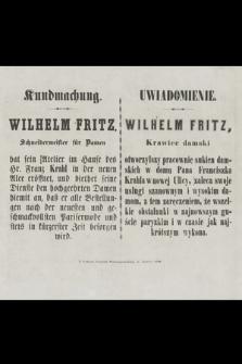 Wilhelm Fritz, krawiec damski