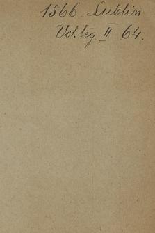"""""""Tytuły aktów XVI i XVII w. wypisane z Volumina legum"""", t. 1-2. T. 2, 1566-1588"""