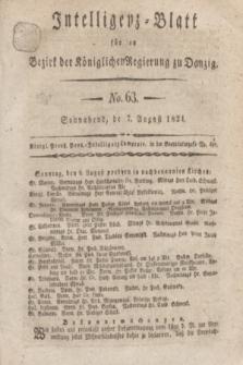 Intelligenz-Blatt für den Bezirk der Königlichen Regierung zu Danzig. 1824, No. 63 (7 August) + dod.