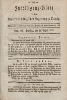 Intelligenz-Blatt für den Bezirk der Königlichen Regierung zu Danzig. 1832, No. 195 (21 August)