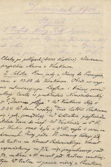 """""""Dzienniczek"""" Leona Mańkowskiego sanskrytologa, profesora Uniwersytetu Jagiellońskiego, z lat 1891-1909. T. 2, 1904-1909"""