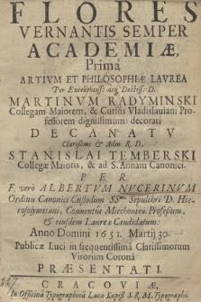 Flores Vernantis Semper Academiæ : Prima Artivm Et Philosophiæ Lavrea