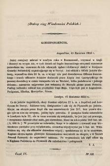 Wiadomości Polskie. R.1, 1855, cz.4, nr3