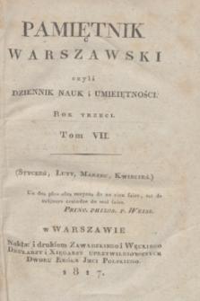 Pamiętnik Warszawski : czyli dziennik nauk i umieiętności. [R.3], [T.7], Spis rzeczy w tomie VII Pamiętnika zawartych (1817)