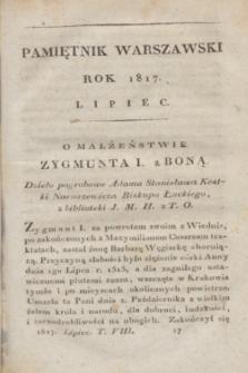 Pamiętnik Warszawski : czyli dziennik nauk i umieiętności. [R.3], [T.8], [7] (lipiec 1817) + wkładka