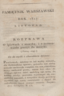 Pamiętnik Warszawski : czyli dziennik nauk i umieiętności. [R.3], [T.9], [11] (listopad 1817) + wkładka