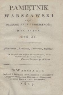 Pamiętnik Warszawski. R.5, T.15 Spis rzeczy w tomie XV. Pamiętnika zawartych (1819)