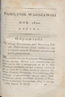 Pamiętnik Warszawski. R.6, T.17, [ner 7] (lipiec 1820) + wkładka