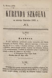 Kurenda Szkolna za miesiąc Czerwiec 1863, № 3