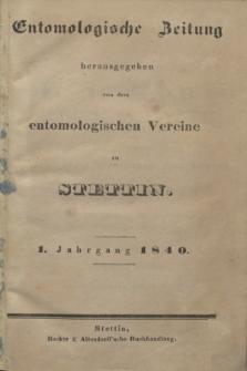 Entomologische Zeitung herausgegeben von dem entomologischen Vereine zu Stettin. Jg.1, Indeks dla Jg. 1-3 (1840)