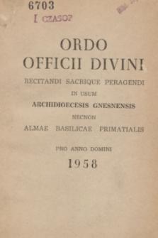 Ordo Officii Divini Recitandi Sacrique Peragendi in usum Archidioecesis Gnesnensis necnon Almae Basilicae Primatialis pro Anno Domini 1958