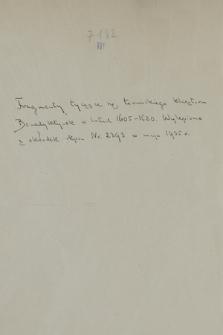 Fragment zbiorku brulionów i odpisów akt klasztoru benedyktynek św. Ducha w Toruniu z lat 1605-1620