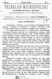 Przegląd Wszechpolski : miesięcznik polityczny ispołeczny. 1900, nr1