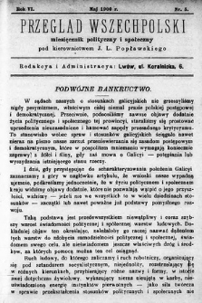 Przegląd Wszechpolski : miesięcznik polityczny ispołeczny. 1900, nr5