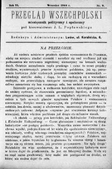 Przegląd Wszechpolski : miesięcznik polityczny ispołeczny. 1900, nr9