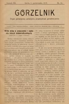 Gorzelnik : organ poświęcony polskiemu przemysłowi gorzelniczemu. R. 20, 1907, nr19